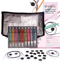 Dreamz Deluxe Interchangeable Set Knitter's Pride Dreamz Deluxe Interchangeable Set, Knitter's Pride Dreamz Deluxe Interchangeable Set, Dreamz Deluxe Interchangeable Set, Deluxe Interchangeable Set, Interchangeable Set, wood, cable, cables, end caps, case, needle storage