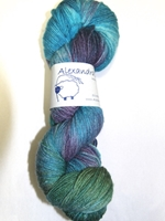 Timberline Ice Alexandra's Crafts, Timberline Ice, fingering, superwash wool, silk, nylon, silver, metallic, hand dyed