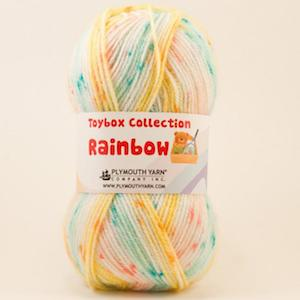 Toybox Rainbow Plymouth Toybox Rainbow, toybox yarn, acrylic, washable, striping yarn, self-striping, knitting, crocheting
